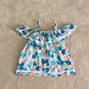 Abercrombie kids cold shoulder floral top